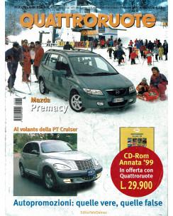 Quattroruote N. 532 febbraio 2000 Mazda Premacy Pt Cruiser ed. Domus