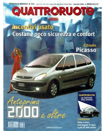 Quattroruote N. 531 gennaio 2000 Citroen Picasso Audi A3 Mercedes A190 ed. Domus