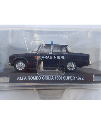 ALFA ROMEO GIULIA 1600 Super blu Carabinieri Die Cast 1:43 scatola De Agostini