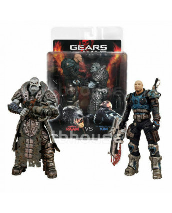 Gears of War General Raam vs Lt. Minh Young Kim 2 Action Figures 2009 NECA Gd01
