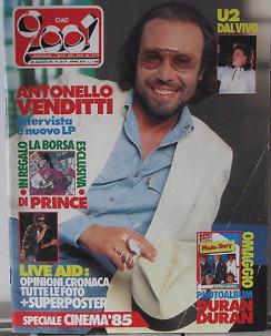 Ciao 2001 N. 33-34 1985 Venditti U2 T. De Piscopo Poster G. Michael